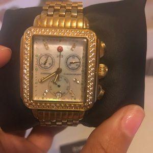 Michelle K Deco mid diamond gold watch